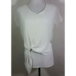 Ana XS Top White Textured V Neck Front Tie Detail